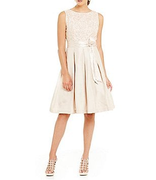 Jessica Howard Soutach Sleeveless Bodice with Taffeta Skirt Dress
