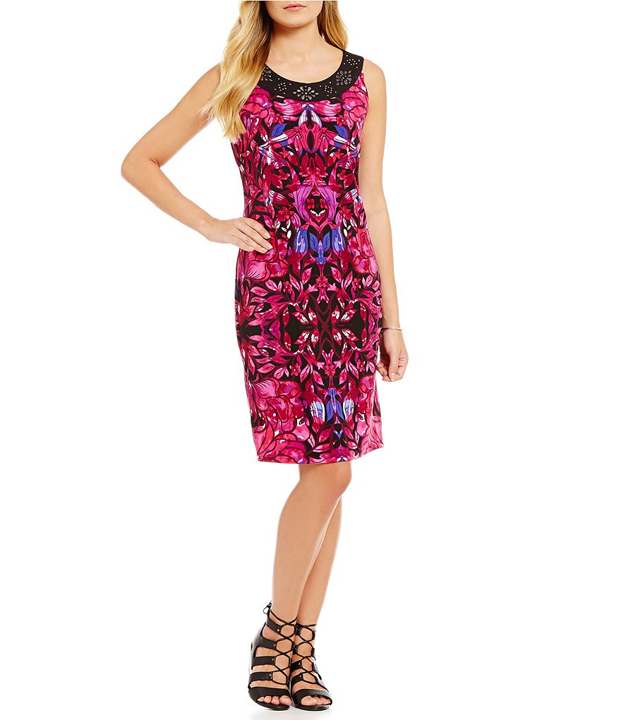 Allison Daley Petite Sleeveless Dress with Embellished Band Neckline