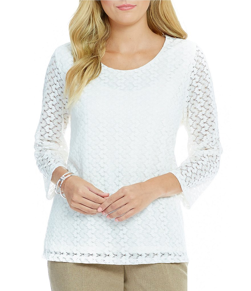 Allison Daley Petite 3/4 Sleeve Scoop-Neck Knit Top