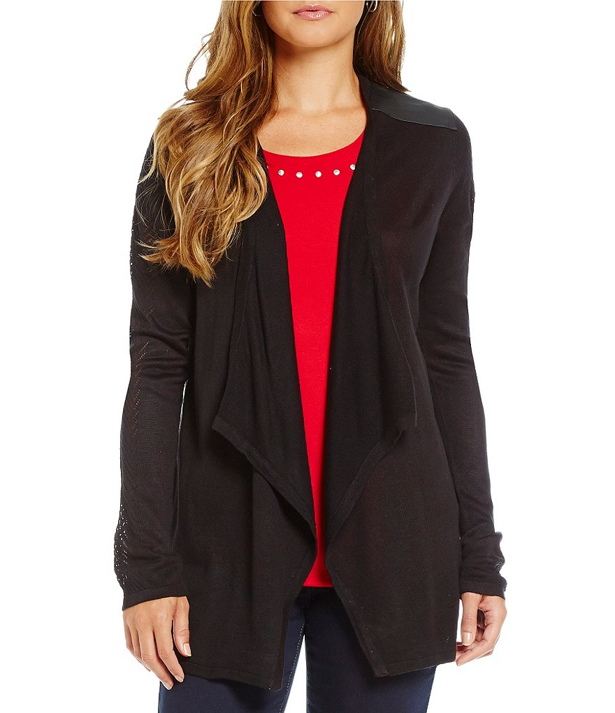 Allison Daley Petite Long Sleeve Open Front Cardigan