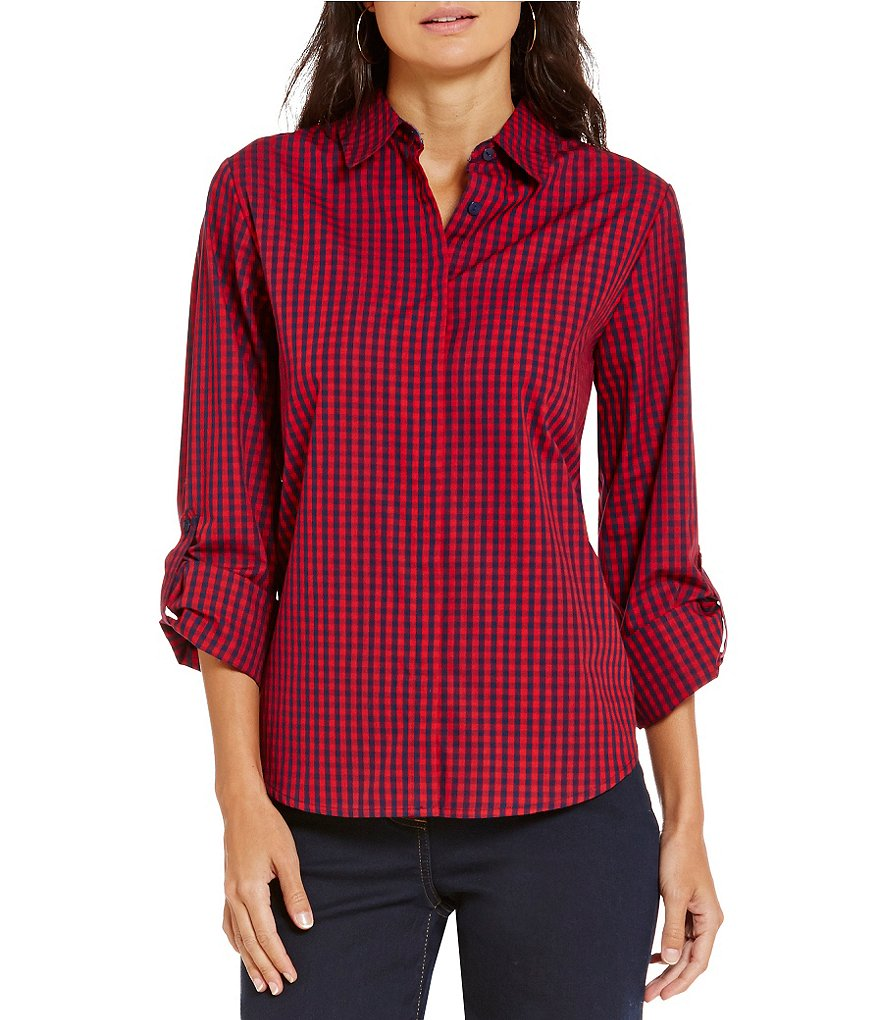 Allison Daley Petite Roll-Tab Sleeve Button Front Check Print Shirt