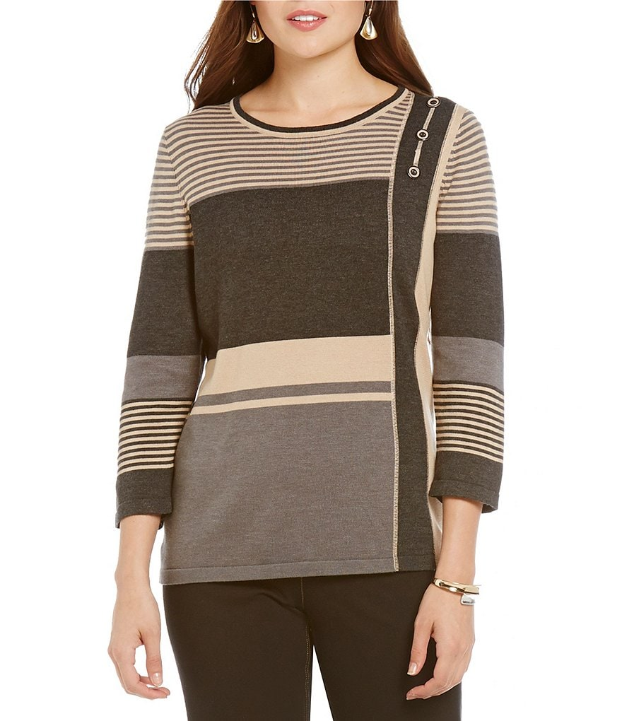 Allison Daley Petite Crew-Neck 3/4 Sleeve Pullover Sweater