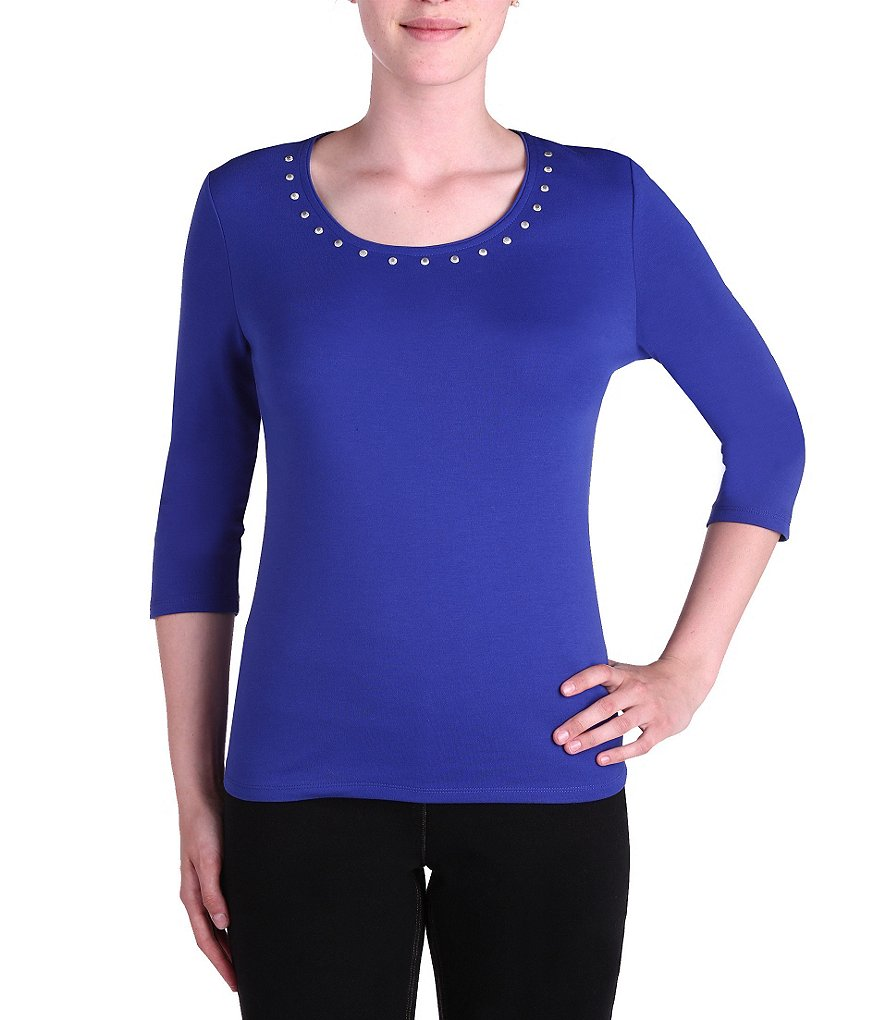 Allison Daley Petite Embellished Crew-Neck Solid Knit Top