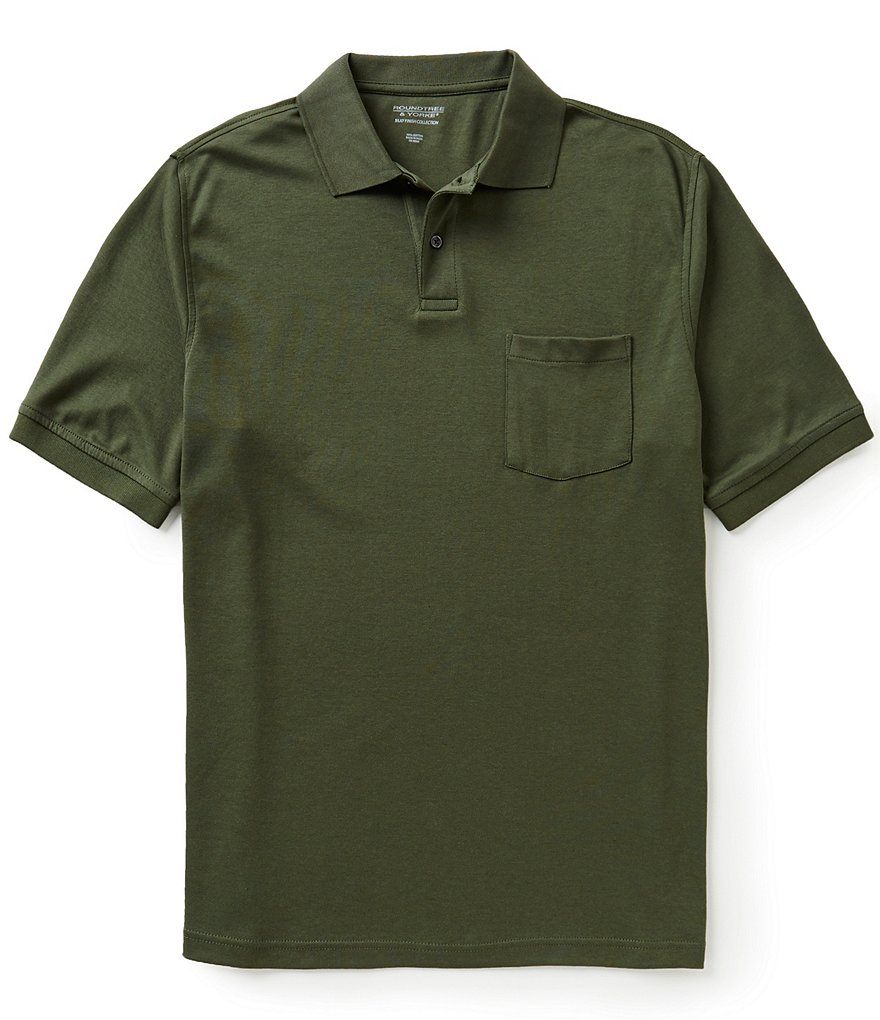 Roundtree & Yorke Silky Finish Short Sleeve Solid Polo Shirt with Pocket