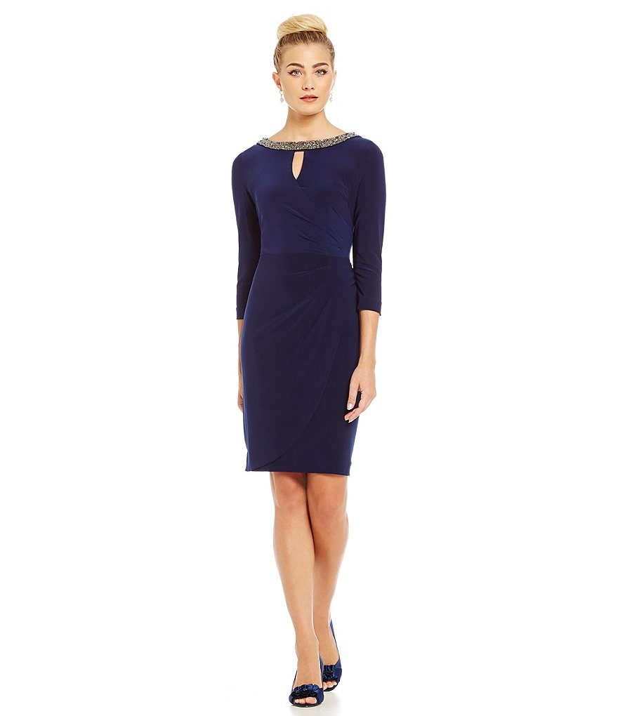 Alex Evenings Keyhole Cutout and Embellished Neckline 3/4 Sleeve Dress