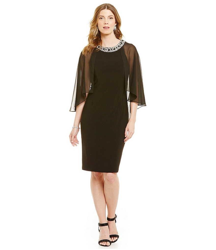 Alex Evenings Capelet Overlay with Beaded Neckline Shift Dress