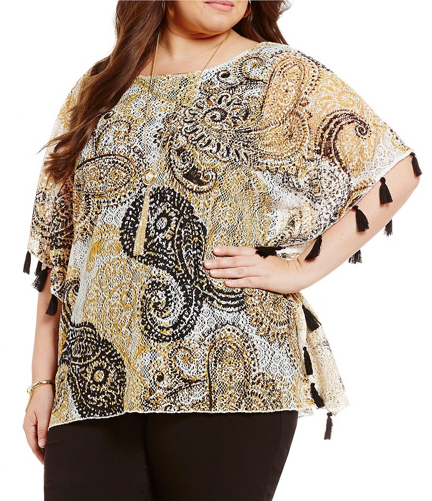 Ruby Rd. Plus Lace Tassle Detail Poncho Top