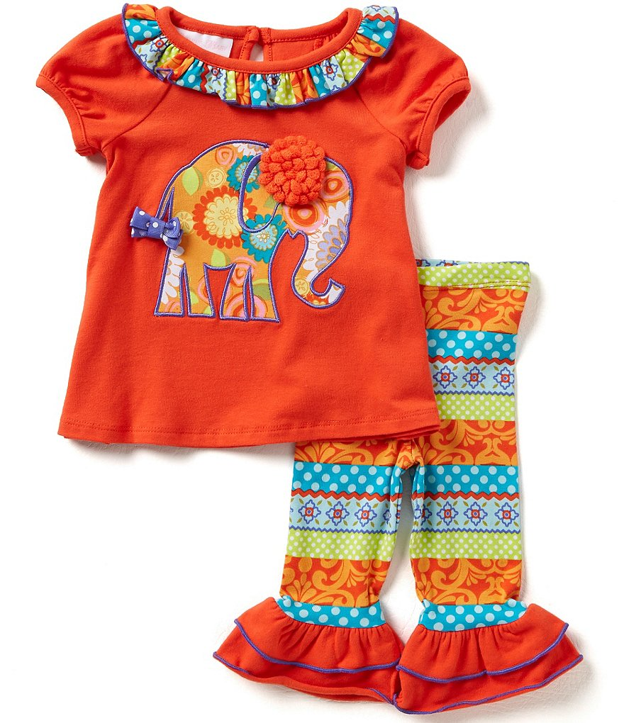 Bonnie Baby Girls Newborn-24 Months Printed Elephant-Appliqued Dress and Printed Leggings Set