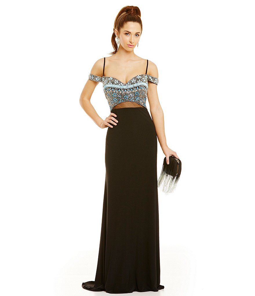Coya Collection Off-The-Shoulder Beaded Bodice Gown