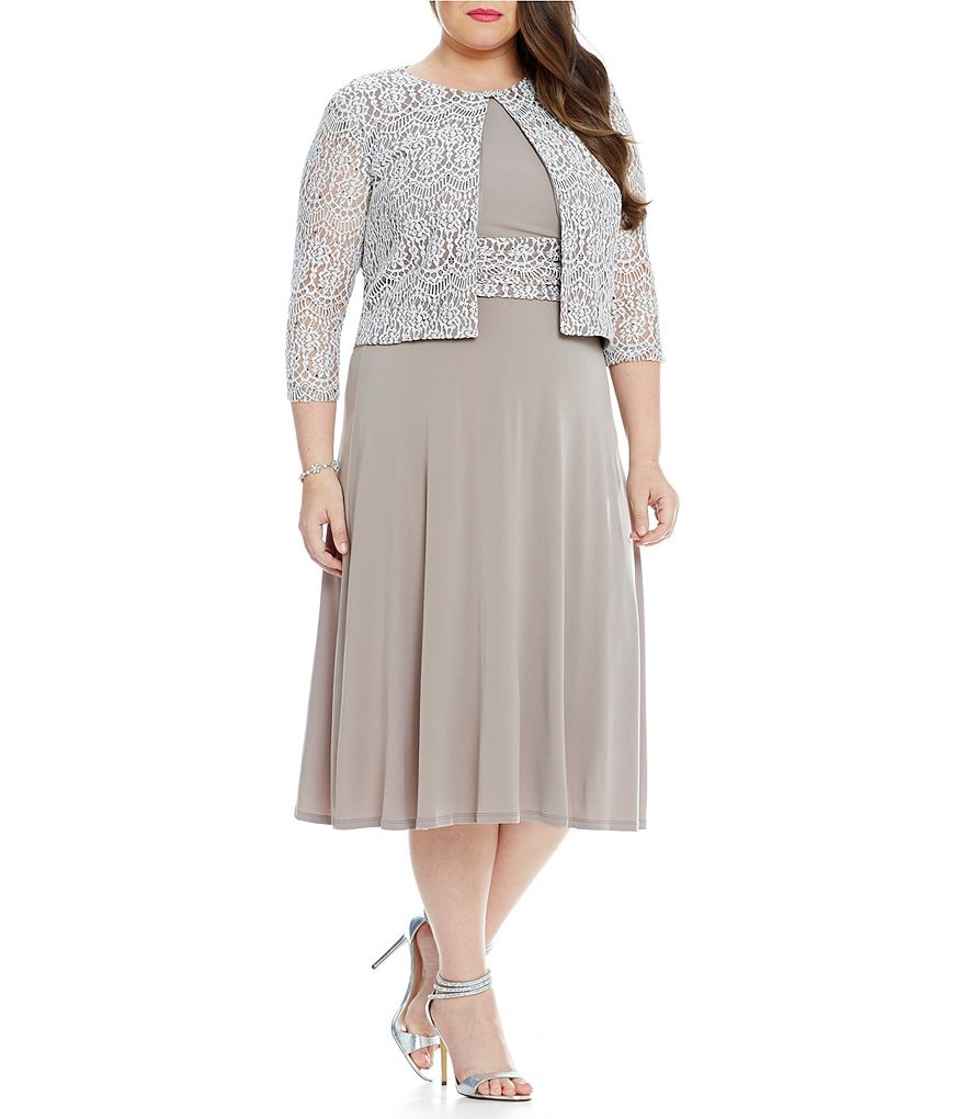 Jessica Howard Plus Two-Piece Beaded Swing Jacket Dress