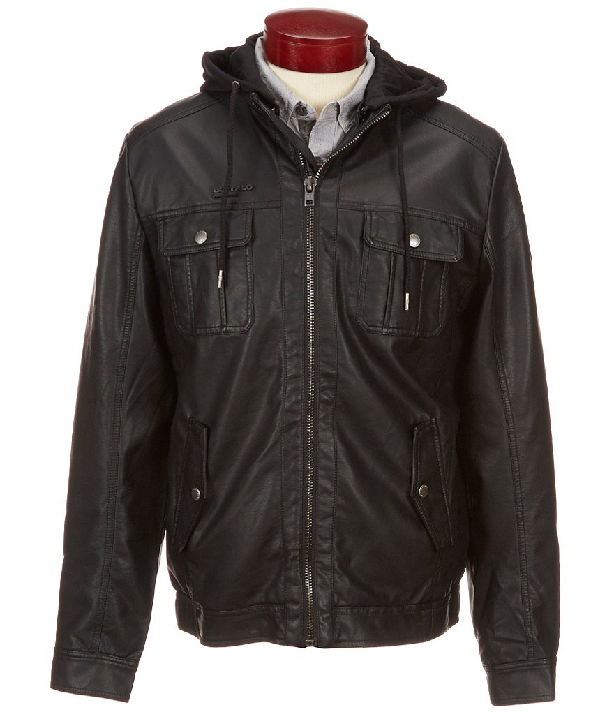Buffalo David Bitton Jafur Vegan Leather Hooded Jacket
