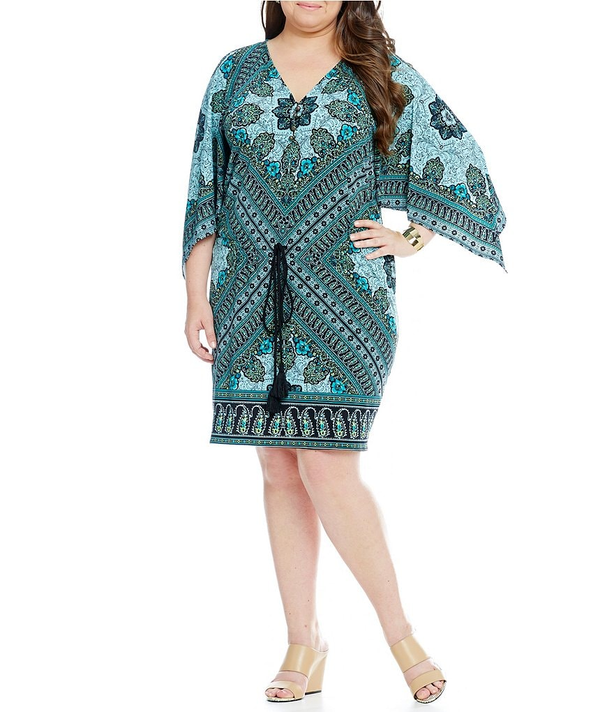 London Times Plus Medallion-Print Blouson Long Kimono Sleeve Dress