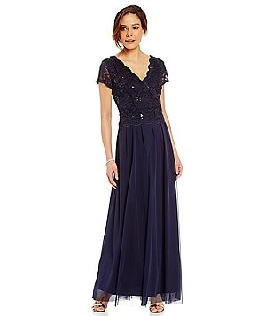 R & M Richards Mock 2-Piece Sequin Lace and Chiffon Gown