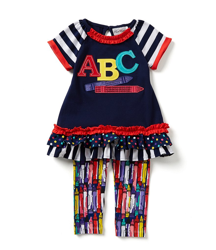Rare Editions Little Girls 2T-6X Back-To-School ABC Crayon Top & Printed Leggings Set