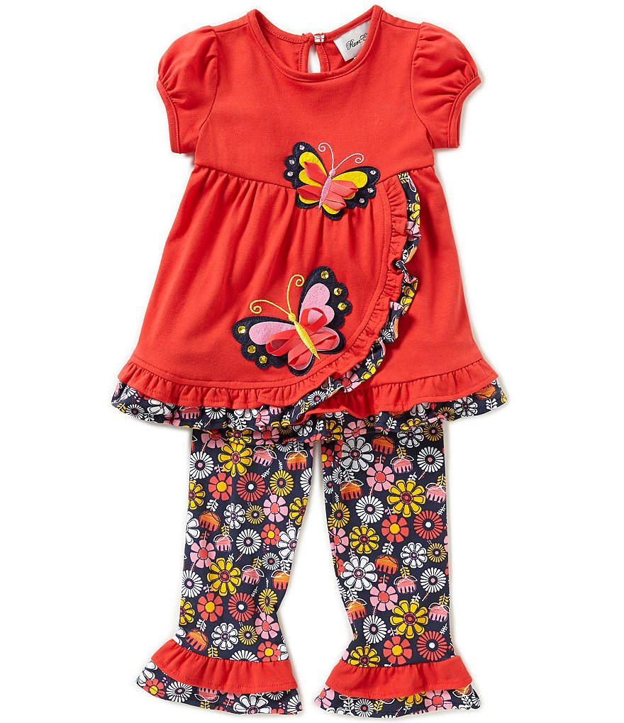 Rare Editions Little Girls 2T-6X 2-Piece Floral Print Butterfly Top and Leggings Set