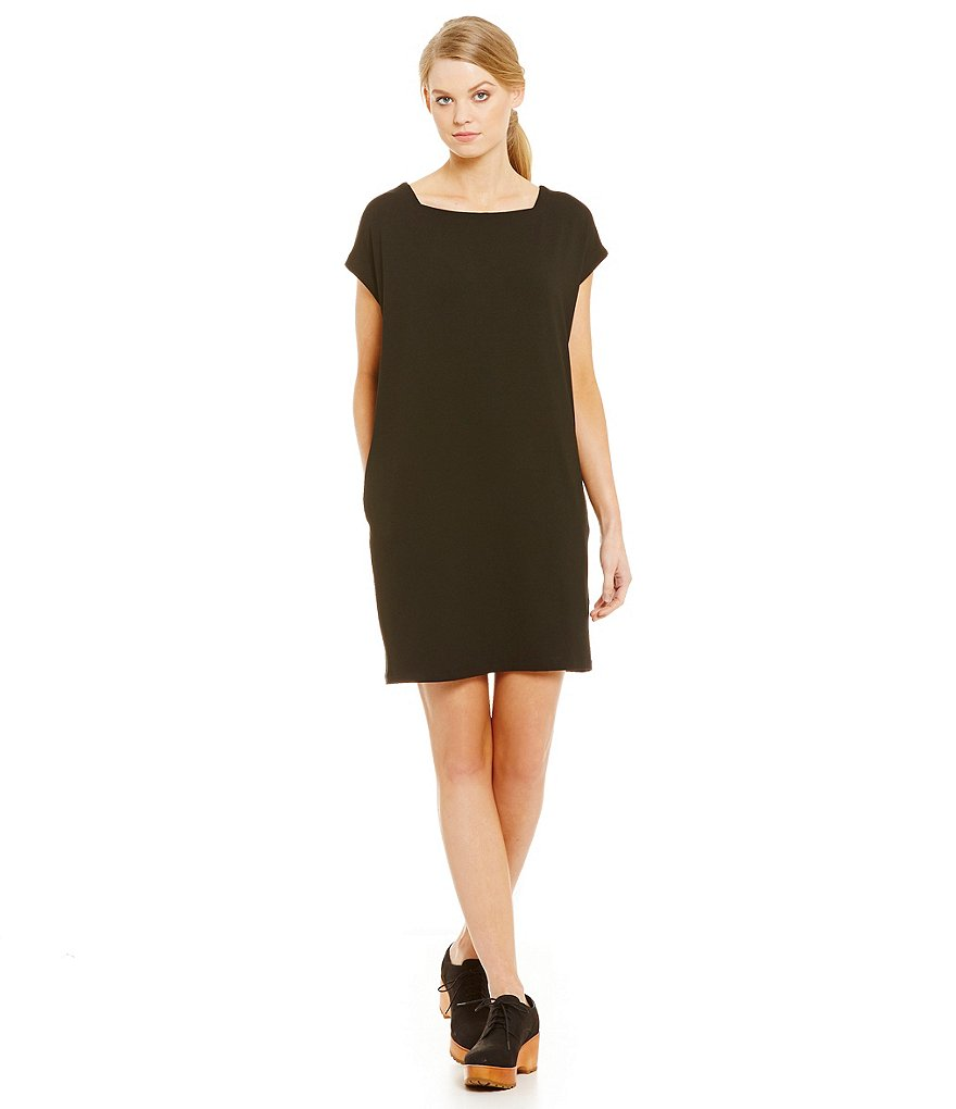 Eileen Fisher Petites Viscose Jersey Square Neck Short Dress