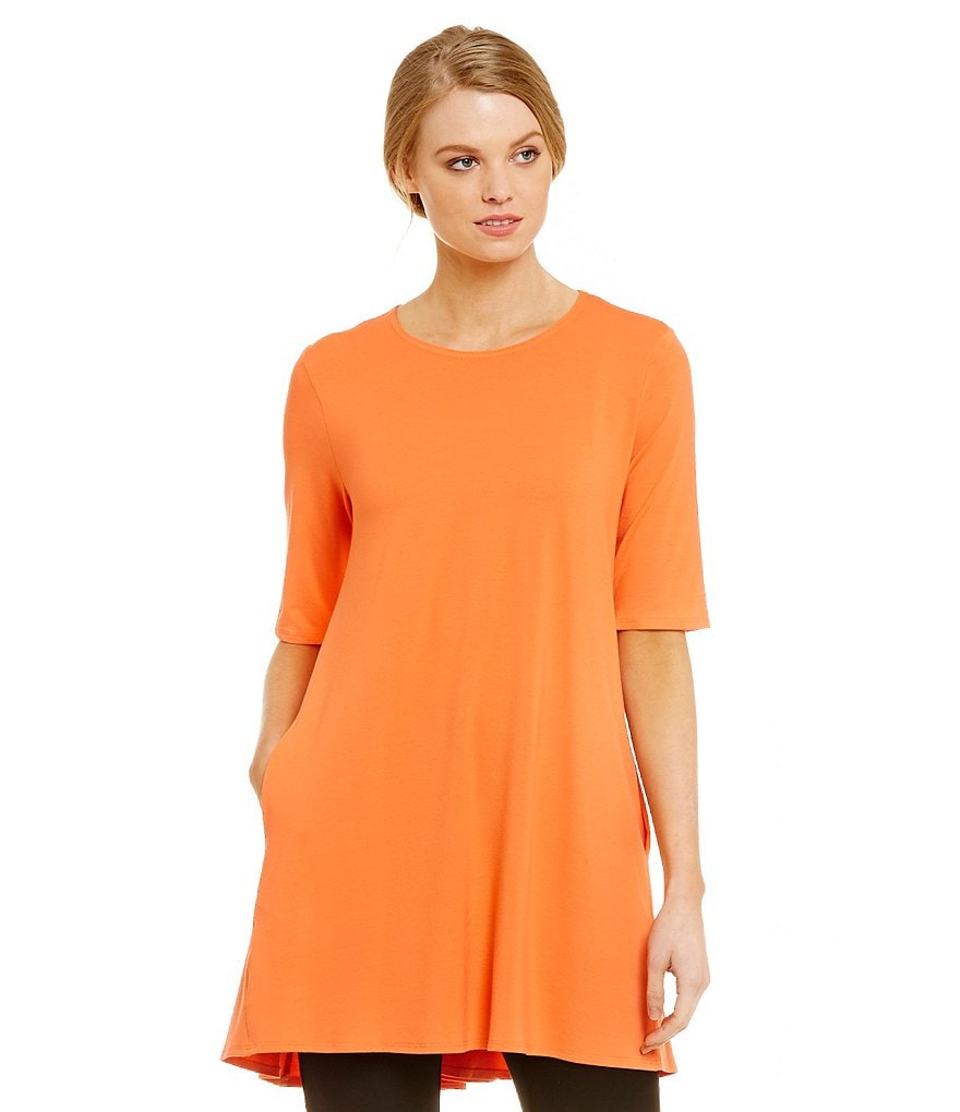 Eileen Fisher Petite Round Neck Elbow Sleeve Tunic Top