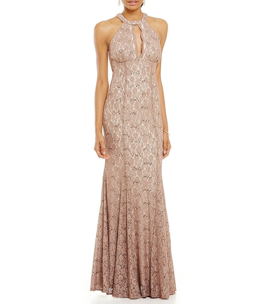 R & M Richards Halter Lace Gown