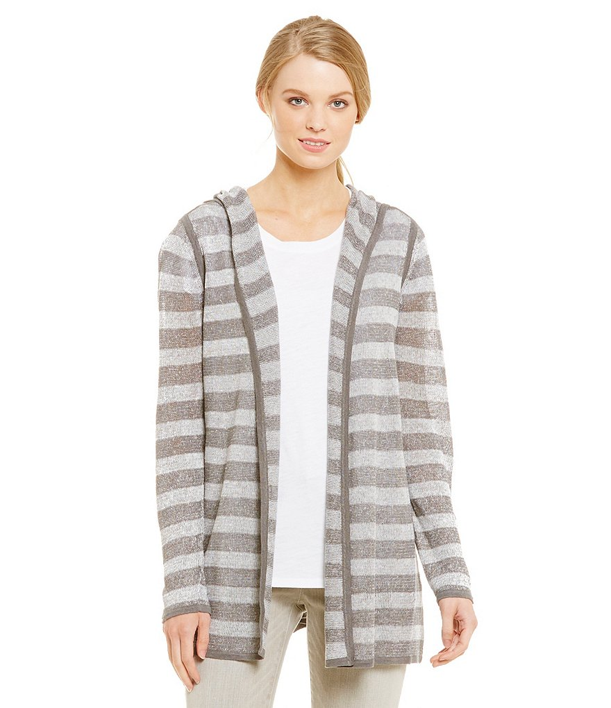 Eileen Fisher Petites Linen Stripe Hooded A-Line Cardigan