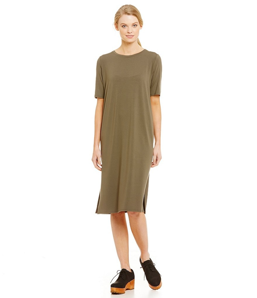 Eileen Fisher Petites Calf-Length Round Neck Short Sleeve Dress