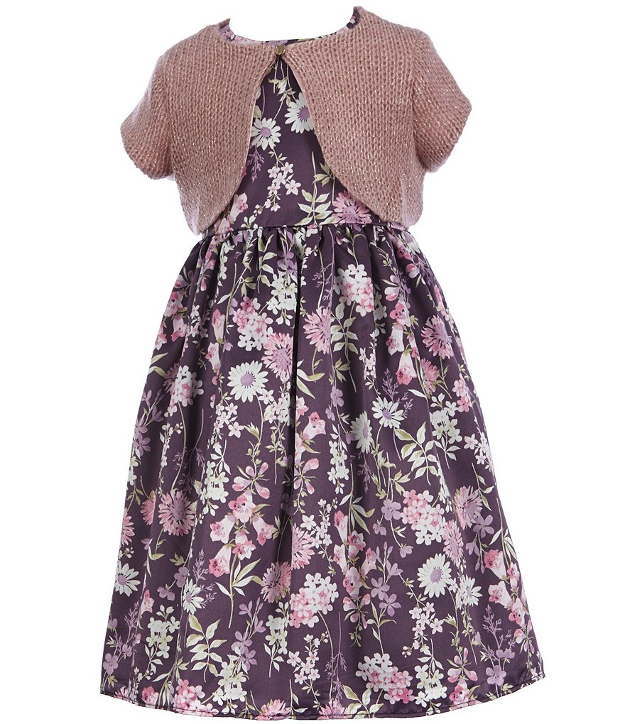 Laura Ashley London Little Girls 2T-6X Floral Dress & Cardigan Set