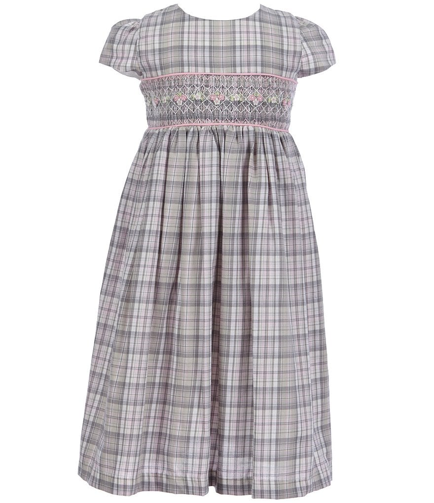 Laura Ashley London Little Girls 2T-6X Plaid-Smocked Dress