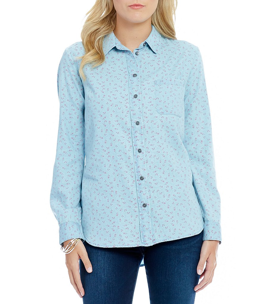 KUT from the Kloth Kayla Ditsy Print Button Front Long Sleeve Shirt
