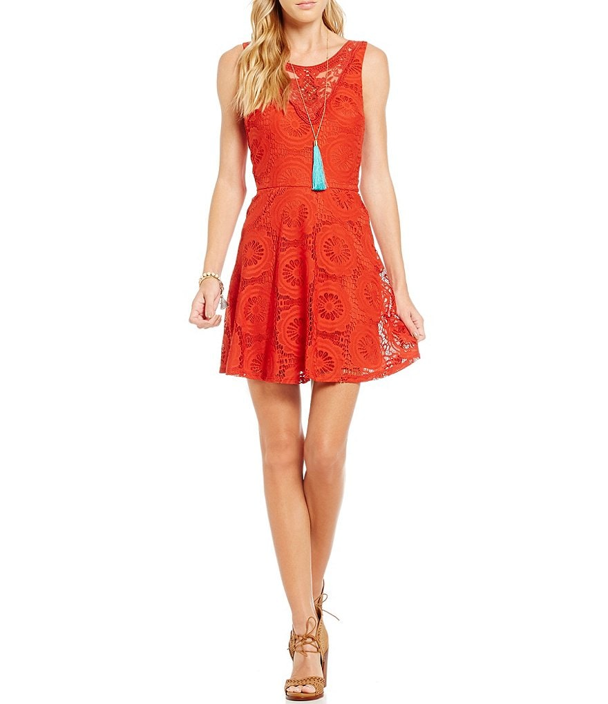 I.N. San Francisco Crochet Neckline Lace Fit-and-Flare Dress