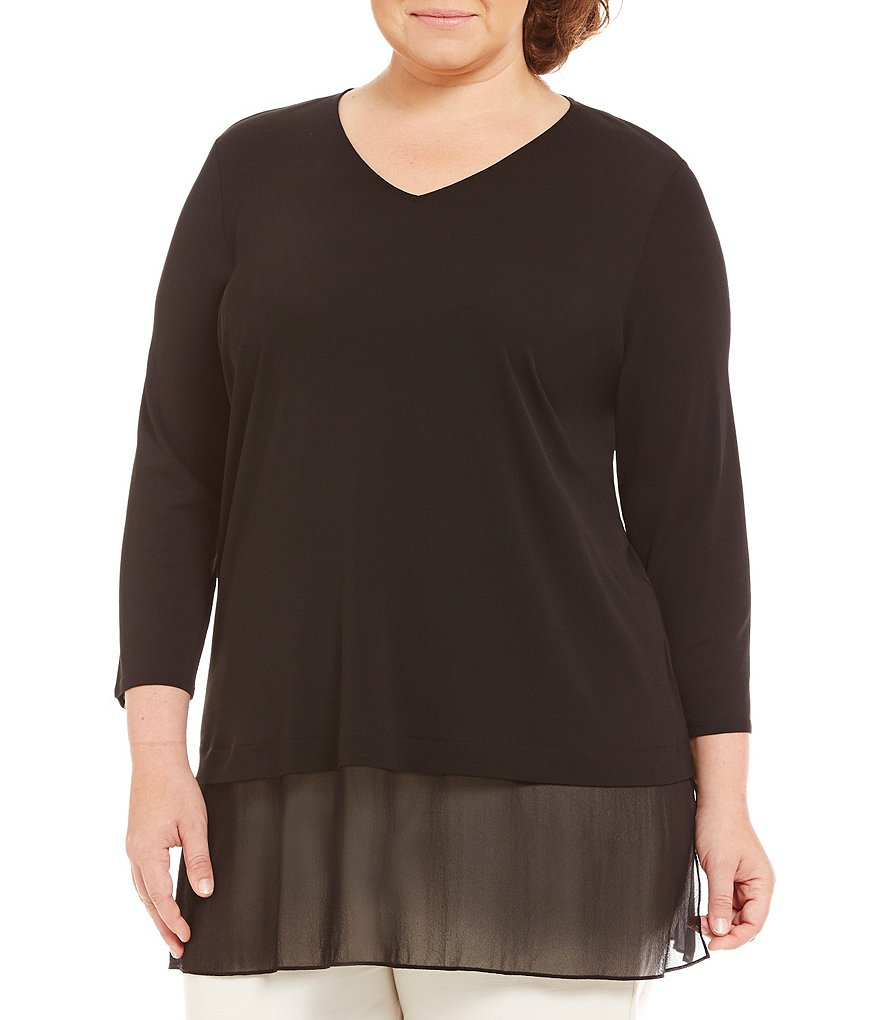 Eileen Fisher Plus V-Neck 3/4 Sleeve Silk Top
