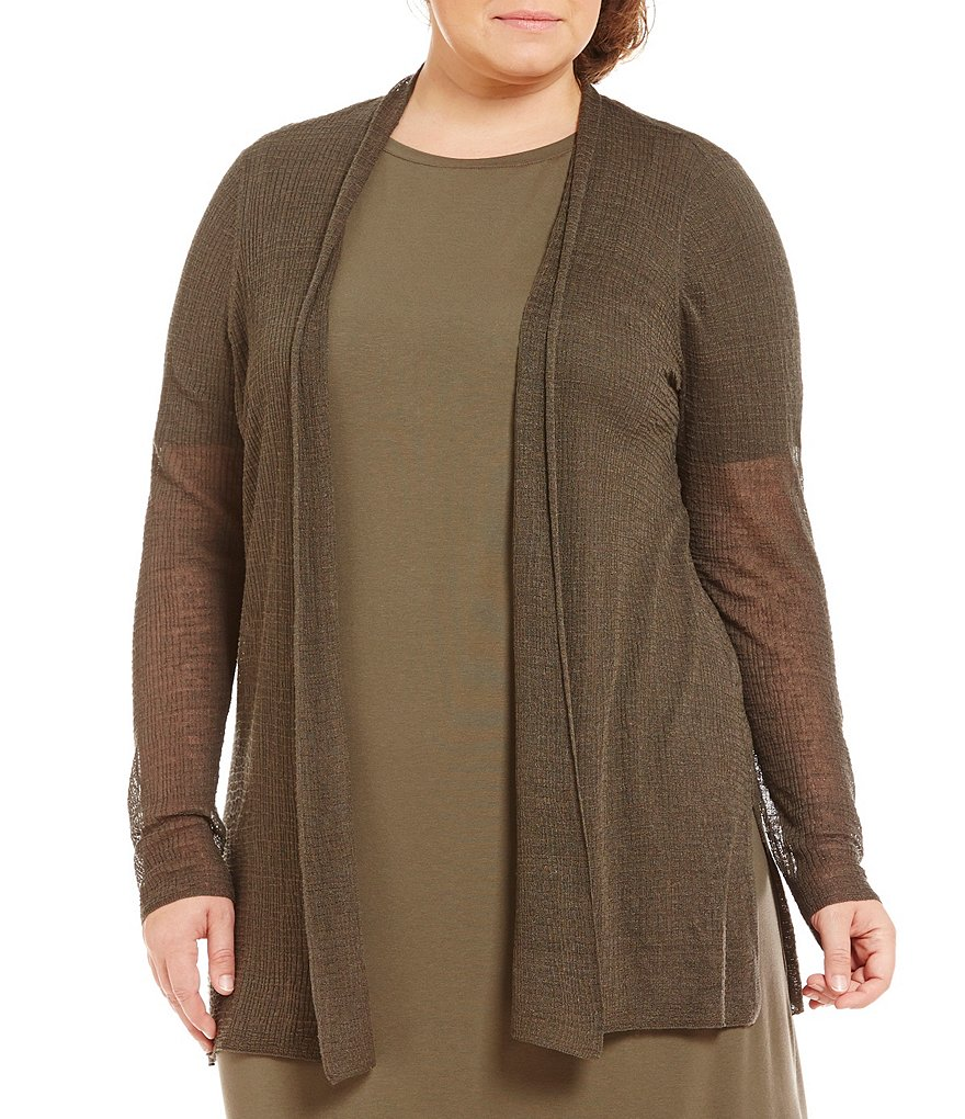 Eileen Fisher Plus Long Sleeve Straight Cardigan