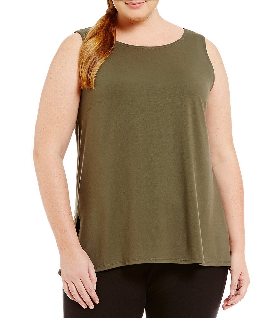 Eileen Fisher Plus Viscose Jersey Long Tank