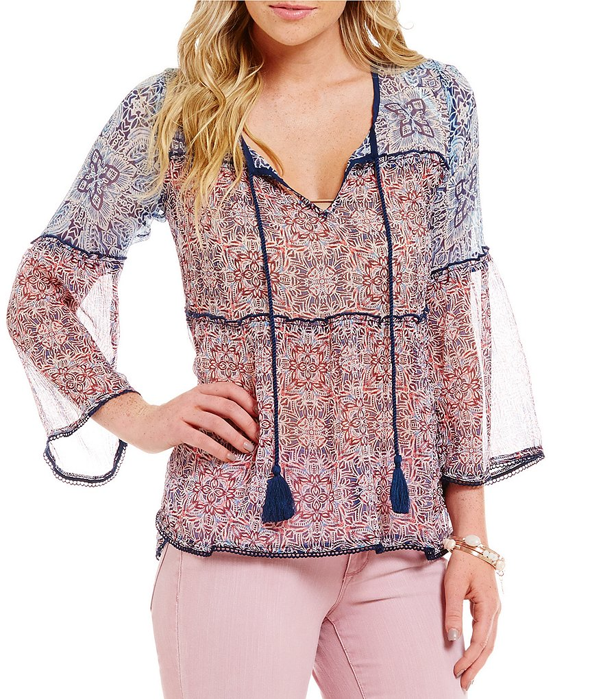 Jessica Simpson Rayna Floral Peasant Top