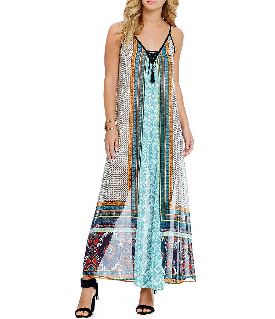 Coco + Jaimeson Mixed Print Lace-Up Maxi Dress