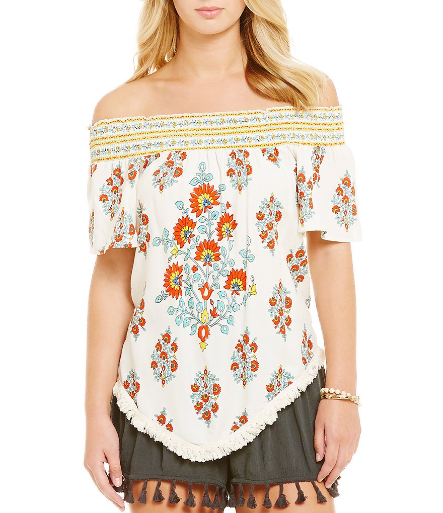 Coco + Jaimeson Printed Off-The-Shoulder Fringe-Hem Top