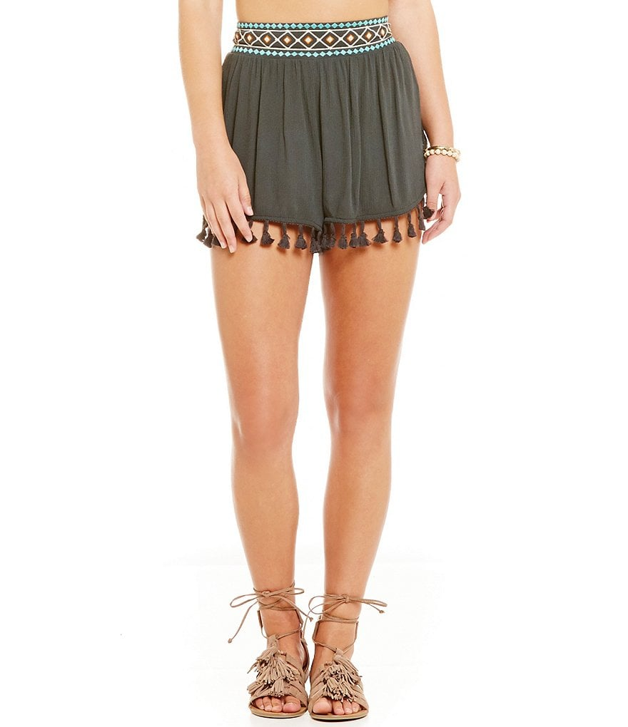 Coco + Jaimeson Embroidered-Waist Soft Shorts