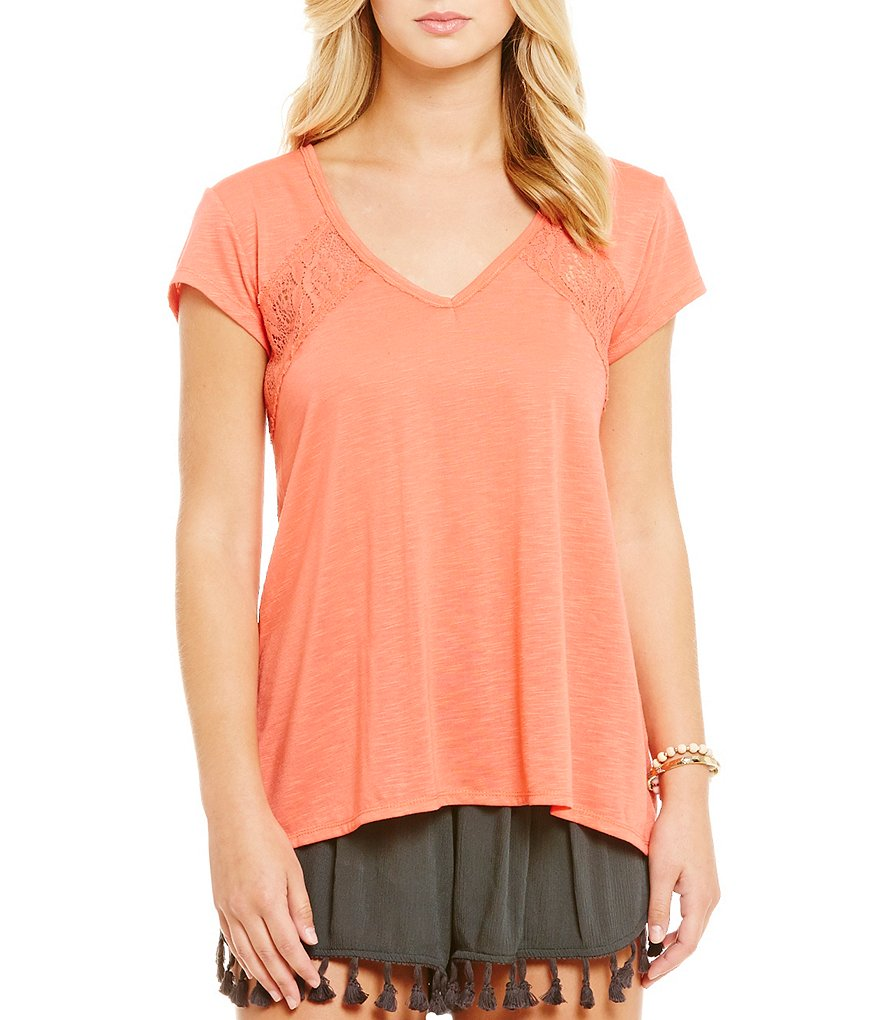 Coco + Jaimeson Lace Inset V-Neck Tee