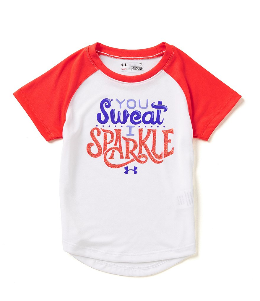 Under Armour Little Girls 2T-6X You Sweat I Sparkle Colorblock Short-Sleeve Tee