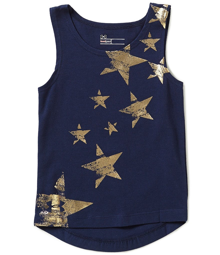 Under Armour Little Girls 2T-6X Metallic-Foiled Star-Print Americana Tank Top