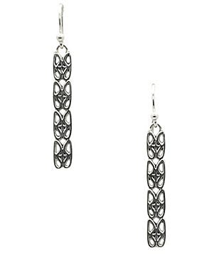 Calvary Sterling Silver J Scroll Linear Drop Earrings
