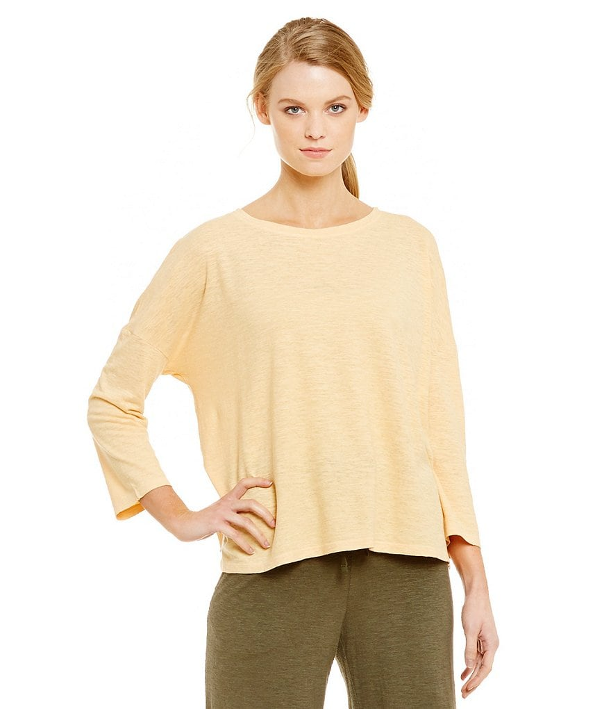Eileen Fisher Bateau Neck 3/4 Sleeve Box Top