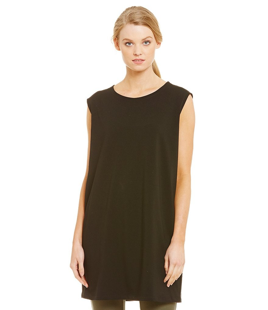 Eileen Fisher Stretch Round Neck Cap Sleeve Jersey Tunic