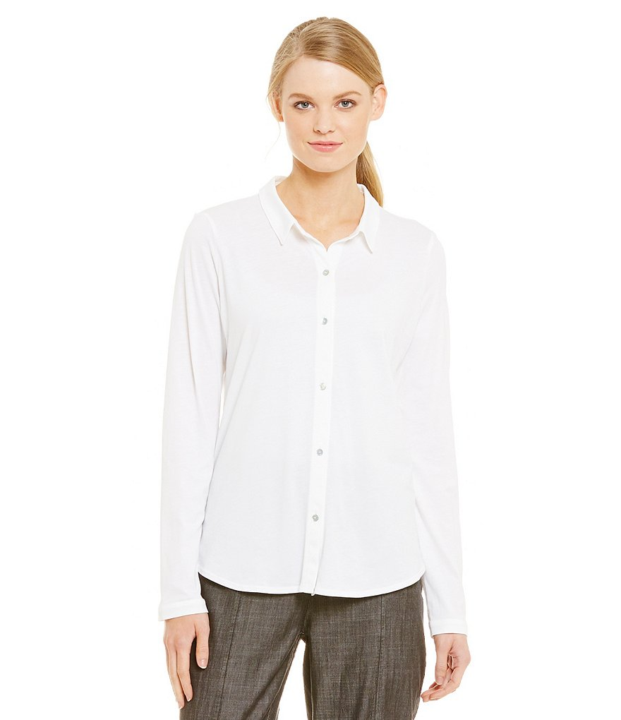 Eileen Fisher Long Sleeve Classic Collared Shirt