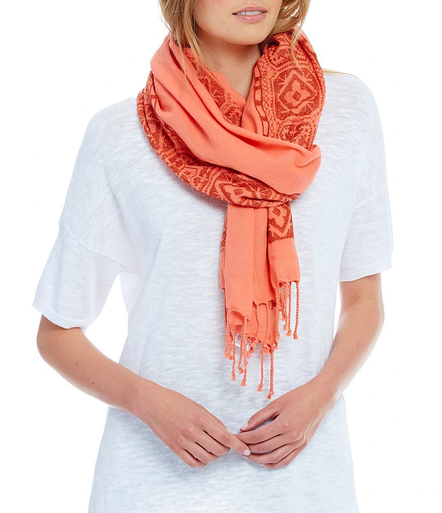 Eileen Fisher Embroidered Borders Scarf