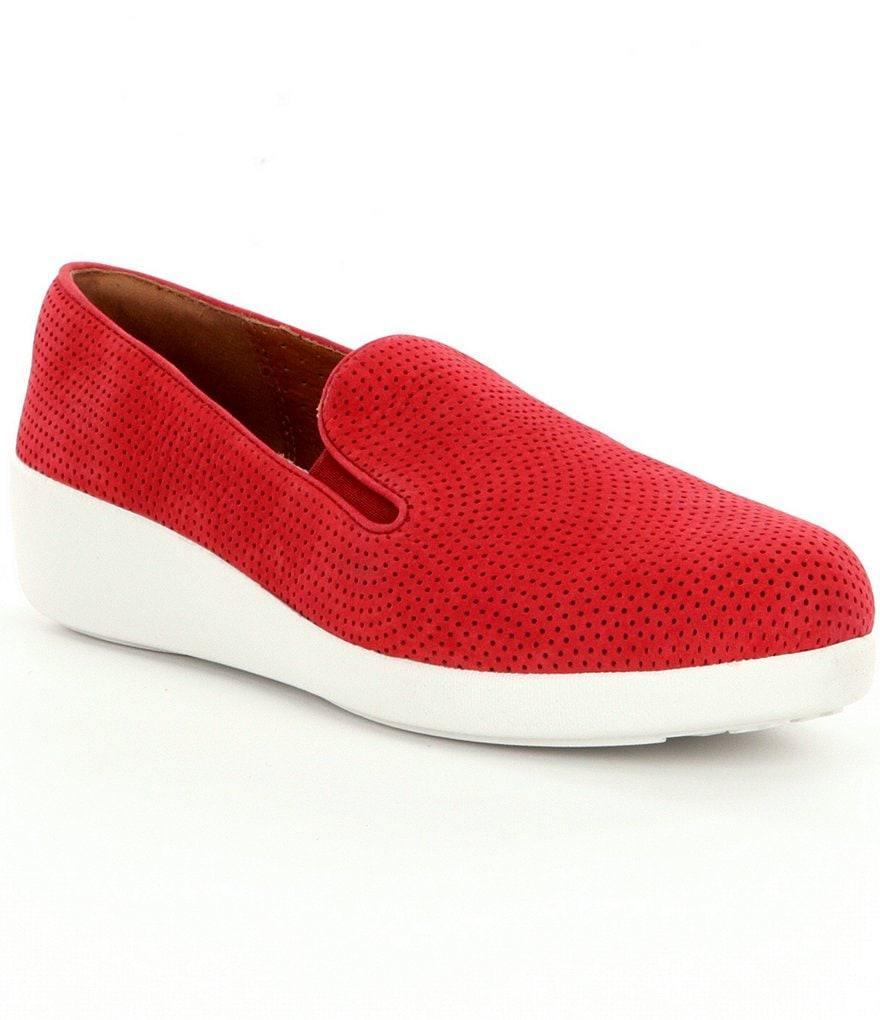 FitFlop Skate Perforated Nubuck Leather Slip On Sneakers