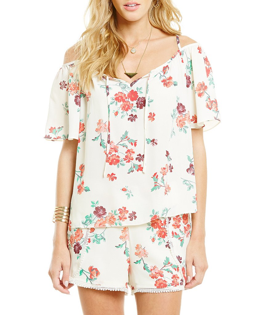 Copper Key Floral Cold-Shoulder Top
