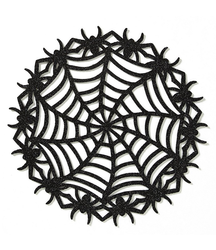 Elrene Home Fashions Creepy Crawly Cutout Glitter Felt Spiderweb Halloween Placemat