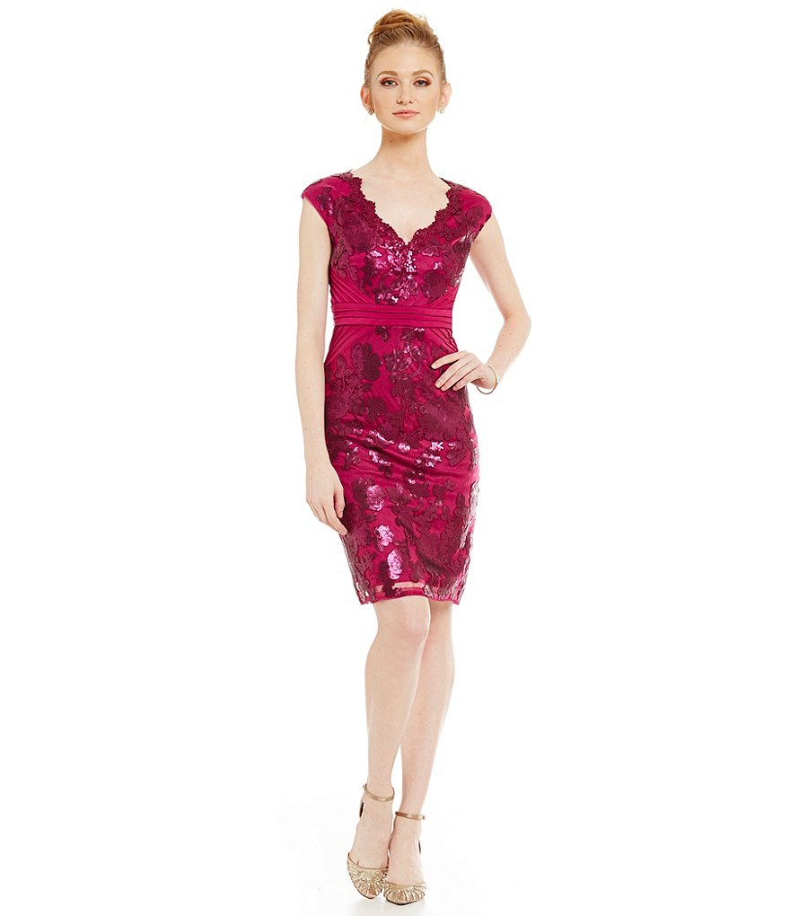 Adrianna Papell V-Neck Sequin Lace Sheath Dress