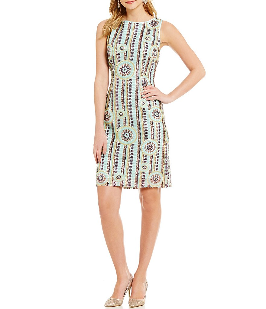Tahari ASL Sleeveless Beaded Shifter Dress