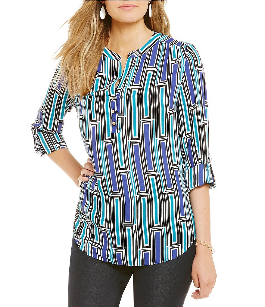 Investments Y-Neck Roll Tab Printed Blouse
