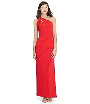 Lauren Ralph Lauren Slit One Shoulder Cut-Out Gown
